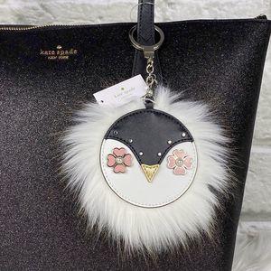 NWT Kate Spade Furry Penguin Keychain Bag Fob